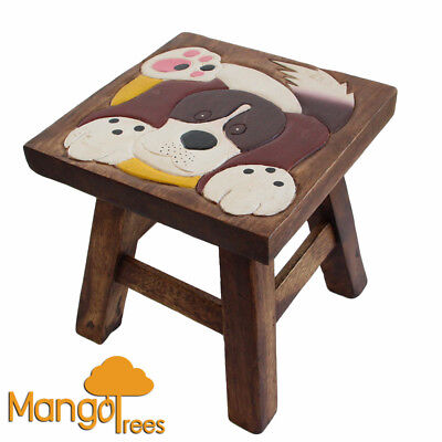 Mango Trees Solid Timber Designer Kids Wooden Dog Stool Chair Children Furniture
