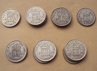 George VI silver sixpences - choose a date