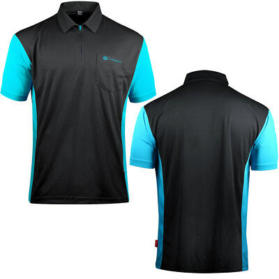 Target Cool Play 3 Dart Shirt - Breathable - Black with Aqua Blue - Small - 5XL