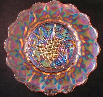 "Imperial 'Heavy Grape' 11"" Carnival Glass Chop Plate"