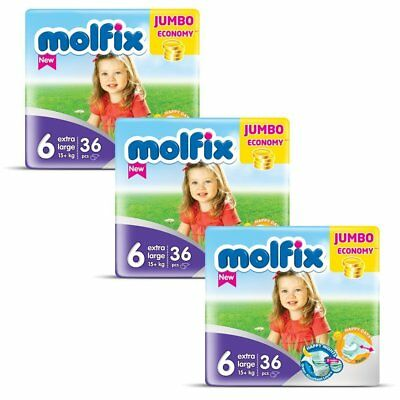 Molfix - Couches Taille 6 (+15kg/Extra Large) -  Jumbo Economie (x108 couches)