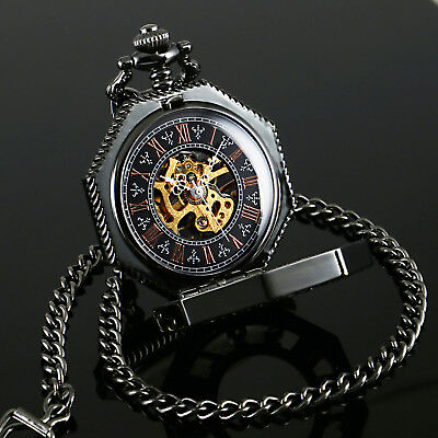 Pocket Watch Black Wind Up Chain Mechanical Skeleton Classic Pedant Octagon Mens