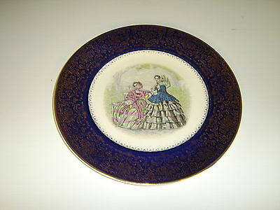 "Imperial Salem China Co 23 Karat Gold 10 7/8"" Blue Plate w/ 2 Victorian Ladies"