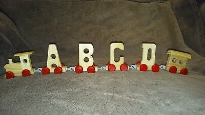 Boys Toy Wood Name Train Set Gift any 4 Letters Numbers Wooden Engine & Carriage