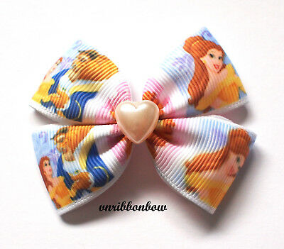 Handmade Girl Children Beauty and The Beast 4 wing ribbon Hair Bow Clips Bobbles