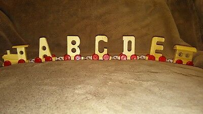 Girl Toy Wood Name Train Set Gift any 5 Letters Numbers Wooden Engine & Carriage