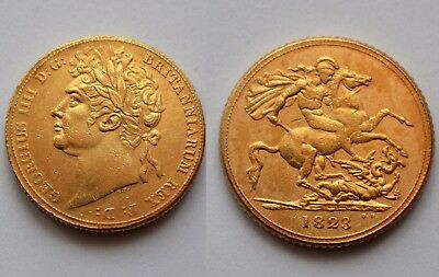 1823 24k GOLD PLATED King George IV Full Sovereign SOUVENIR NOVELTY COIN