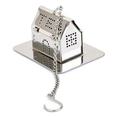 House Shape Stainless Steel Tea Infuser Strainer with Tray Silver SS