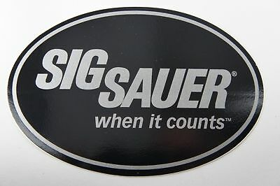 "SIG SAUER ""When it Counts"" OVAL LOGO STICKER DECAL 6X4"