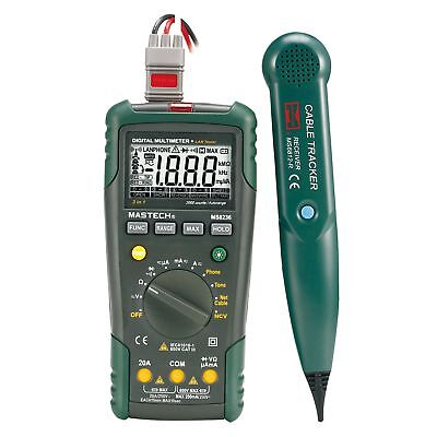 MASTECH MS8236 Autoranging Digital Multimeter LAN Tone Phone Detector Cable T SS