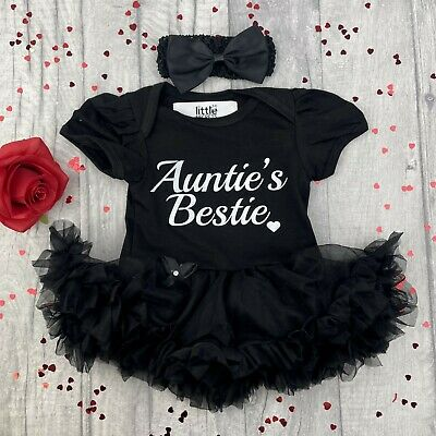 AUNTIE'S BESTIE BABY GIRL'S Hot PINK TUTU ROMPER dress Newborn NIECE Cute Gift
