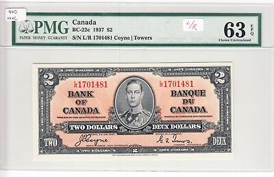 1937 Bank of Canada $2.00 Bank Note - BC-22c - PMG UNC63 EPQ L/R 1701481