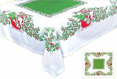 Red Sleigh Cotton Christmas Tablecloth and 4 Napkins - 52 in. x 52 in.