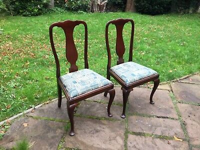 Pair of Antique Edwardian Solid Mahogany Queen Anne Style Dining Chairs