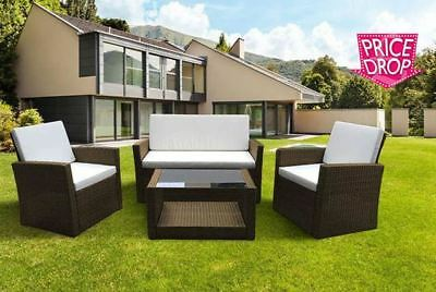 New Outdoor Rattan Garden Furniture 4 piece set conservatory patio BROWN ROMA
