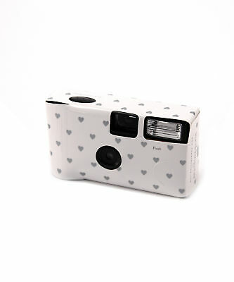 White Disposable Camera with Flash Silver Heart Design Party Pack of 8