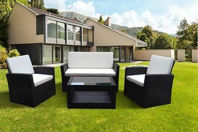 New Outdoor Rattan Garden Furniture 4 piece set conservatory patio BLACK ROMA
