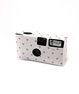 White with Silver Hearts Disposable Cameras with Flash Party Event Favour
