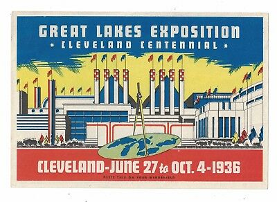 1936 Great Lakes Exposition Hotel Luggage Label Cleveland Centennial