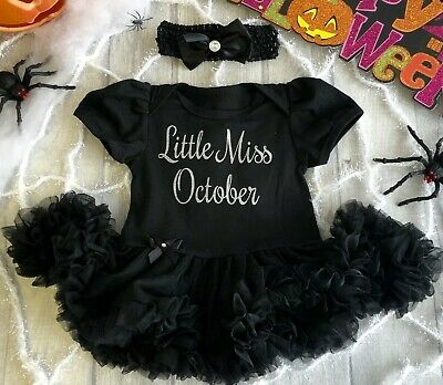 BABY GIRLS LITTLE MISS OCTOBER Tutu Romper Dress BIRTHDAY Present NEWBORN Gift