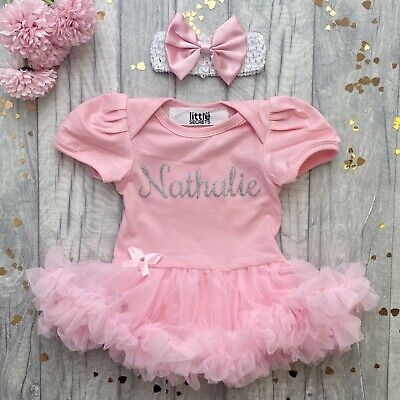 PERSONALISED Name PINK TUTU ROMPER Newborn BABY GIRL Present Princess Love Cute