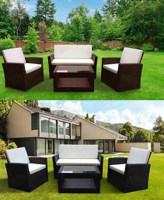 New Outdoor Rattan Garden Furniture 4 piece set conservatory BLACK BROWN ROMA UK