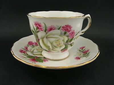Royal Vale White Roses Vintage English Bone China Tea Cup & Saucer c1960s