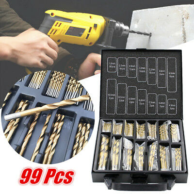 99pcs 1.5mm -10mm HSS Titanium Coated Twist Drill Bits High Speed Steel Set Tool