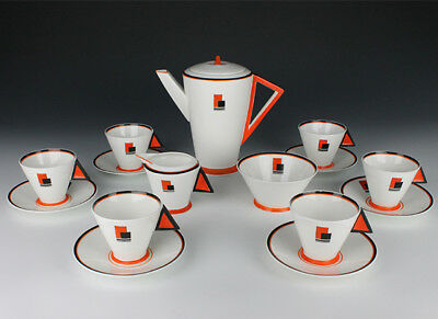 Shelley Orange Blocks Coffee Set.