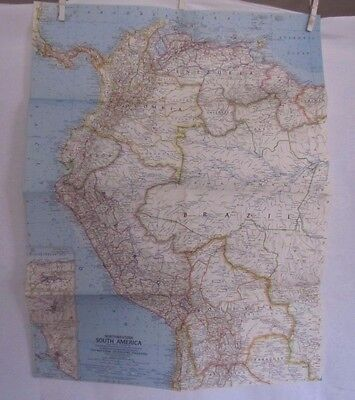 1964 National Geographic Map - NorthWestern South America - 19 x 24 inches