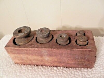 Brass Scale Weights Old Vintage Balance Scale Weights Set In Original Wooden Box