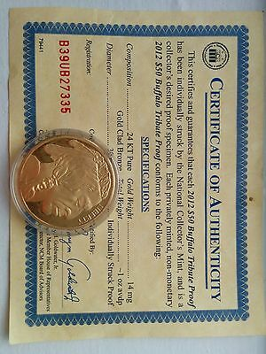 2012 $50 Buffalo Tribute Proof with Certificate of Authenticity