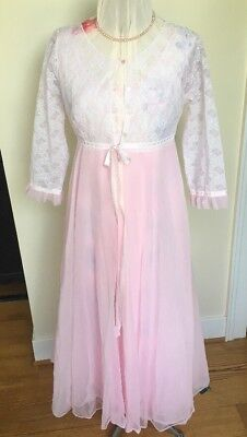 VTG 60s 70s Peignor Nightgown Negligee Robe Set Pink White Lace Small