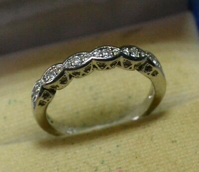 Vintage genuine White Sapphire stones 14ct white Gold eternity ring size 9 R 1/2