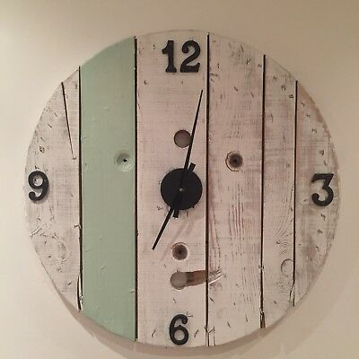 Large wood Farmhouse clock cable drum industrial pallet wood gallery art