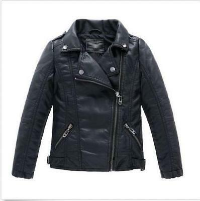 Children Girls Coat And Jacket Boys Synthetic Leather Turn-down Collar Top