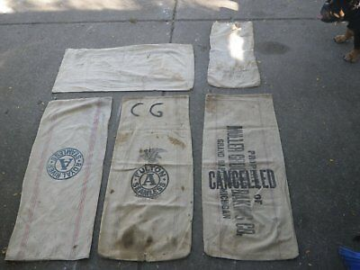 5 canvas feed bags lot #1