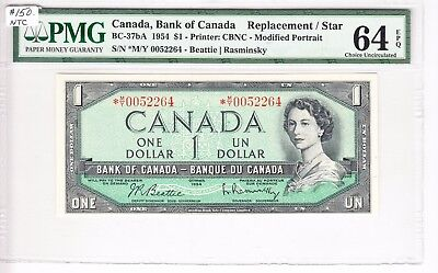 1954 Bank of Canada $1.00 Bank Note - PMG Unc 64 EPQ *M/Y 0052264