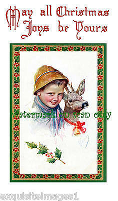 K. Feiertag~Christmas Deer w Red Bow & Bell w Boy~Child~Nouveau~NEW Note Cards