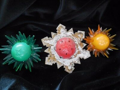 3  Vintage Star Christmas Tree Lights - Yellow, Green, White & Red