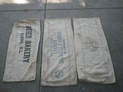 3 canvas feed bags lot #2