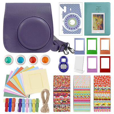 Deluxe Stylish Fun Accessory Kit for Fujifilm Instax Mini 8 Camera Grape