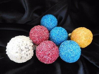 7 Vintage Snowball Christmas Tree Lights - 1 Yellow, 2 Red, 3 Blue, 1 White