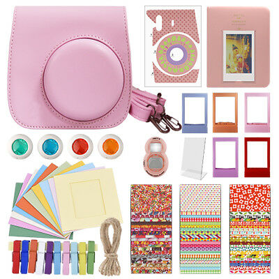 Deluxe Stylish Fun Accessory Kit for Fujifilm Instax Mini 8 Camera Pink