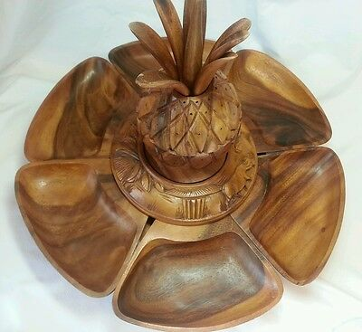 Pineapple Topped Lazy Susan Monkey Pod Made in Philippines 20 Inches Diameter