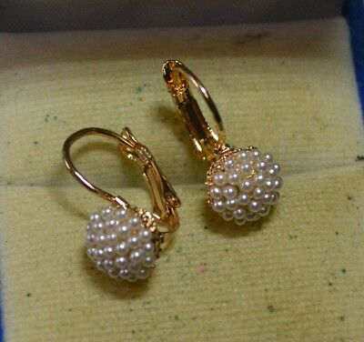Vintage estate antique genuine Seed Pearl 14ct Gold levrback Italy Earrings