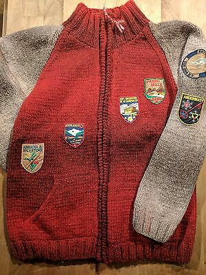 Frantic Wool Ski Sweater with vintage Euro Ski patches Mens Large Red Cozy Ugly