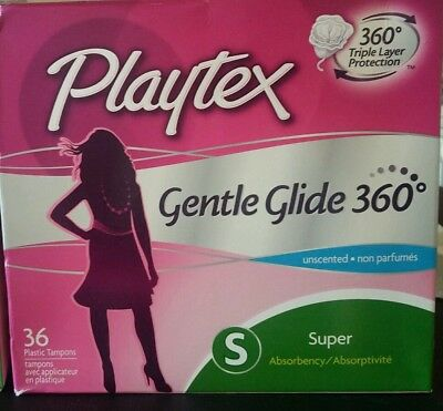 2 Pack Playtex Gentle Glide 360 Super Absorbency Unscented 36 Plastic Tampons Ea