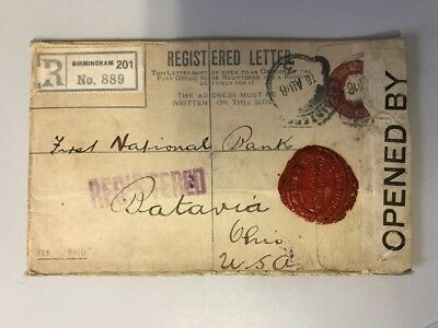 1916 London England Registered Letter Cover to First National Bank Red Wax Seal