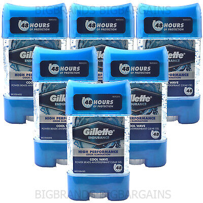 6 x Gillette Endurance Cool Wave Power Beads Anti Perspirant Deodorant Stick Gel